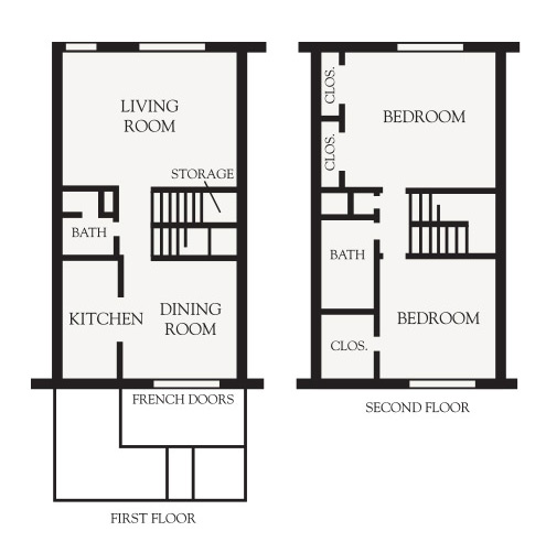 2 Bedroom Townhouse floor plan